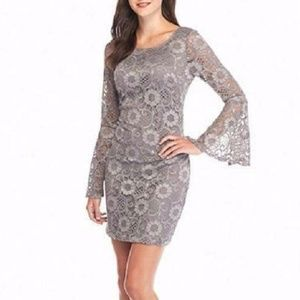 Gray floral lace bell sleeve dress